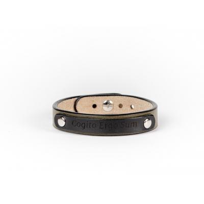 Оливковий вузький браслет  з гравіюванням на табличці