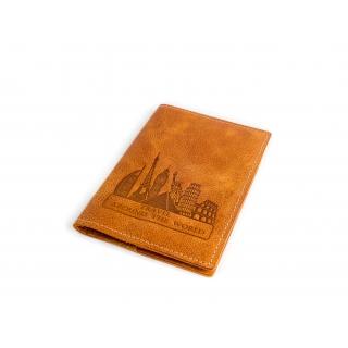 Обложка на паспорт / Travel around the world  / Светло-Коричневий